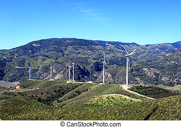 Wind turbines in Andalusia, Spain - Wind turbines along the ...
