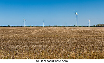 Wind turbines in rural areas panorama - Wind turbines in ...