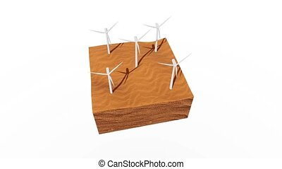 Wind turbines in sandy desert concept 3D animation