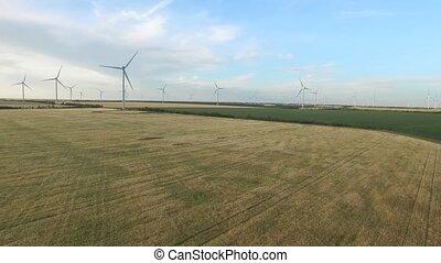 Wind turbines in wheat fields in the summer. Aerial survey