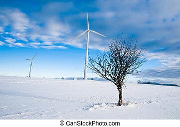 Wind Turbines in Winter Landscape