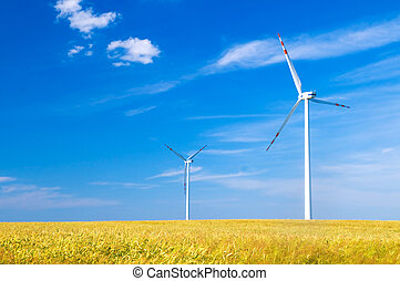 Wind turbines landscape. Environment fiendly source of ...