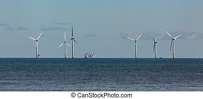 Wind turbines off shore at Colwyn Bay