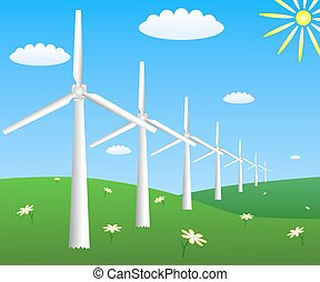 Wind turbines on a field. Vector