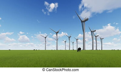 Wind turbines on a green field and sheep