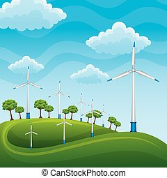 wind turbines on a green meadow tree producing electricity with blue sky