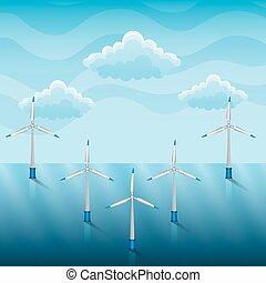 wind turbines on a sea renewable energy