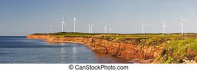 Wind turbines on atlantic coast - Panoramic view of wind...