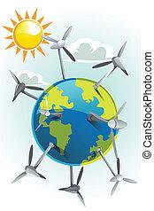 Wind turbines on earth - A vector illustration of wind ...