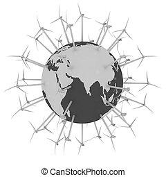 Wind turbines on earth