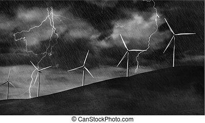 Wind Turbines on Electric Storm