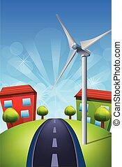 Wind Turbines on Green Field Illustration