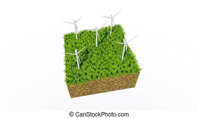 Wind turbines on green grass concept 3D animation