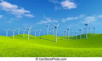 Wind turbines on green hills - Rural scenery with rotating...