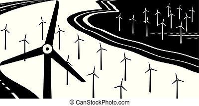 Wind turbines on land and at sea