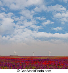 wind turbines on natural background