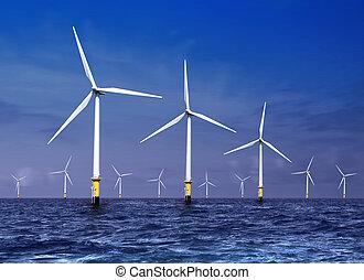 wind turbines on sea - white wind turbine generating...