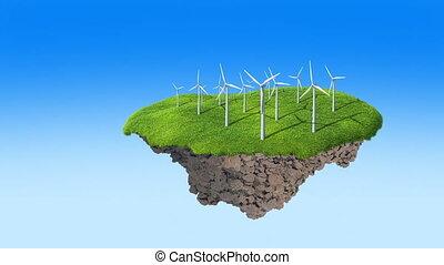 Wind turbines on small island