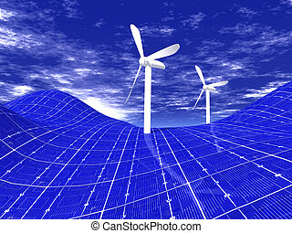Wind turbines on solar panels