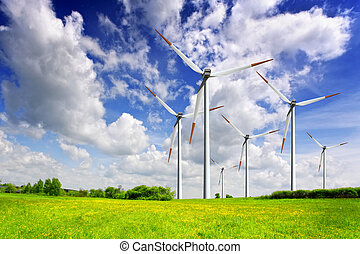 Wind turbines on spring field
