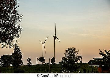 Wind turbines on the hill