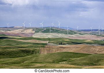 Wind turbines on the Palouse.
