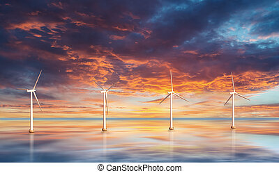 Wind turbines on water. Sunset