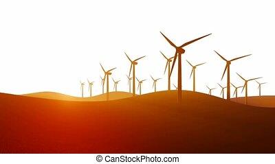 Wind turbines on white background