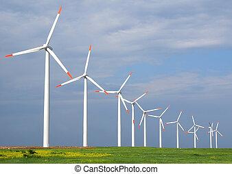 Wind turbines in a windfarm on cape Kaliakra