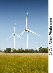Wind turbines - Three wind turbines in nature