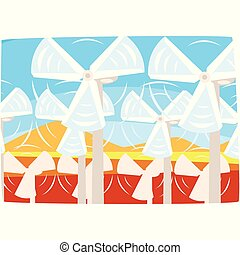 Wind turbines power station, ecological energy producing station, renewable resources horizontal vector illustration