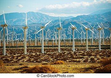 Wind Turbines PowerPlant in California, United States.