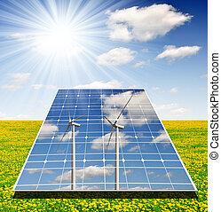 solar panels - wind turbines reflected in solar panels