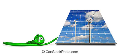 Wind turbines reflection in solar panel with green electric plug isolated on a white background.