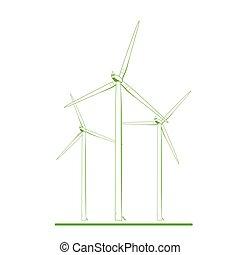 Wind turbines renewable energy concept green white