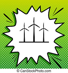 Wind turbines sign. Black Icon on white popart Splash at green background with white spots. Illustration.