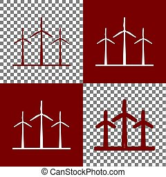 Wind turbines sign. Vector. Bordo and white icons and line icons on chess board with transparent background.