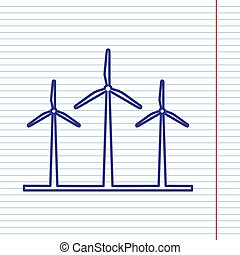 Wind turbines sign. Vector. Navy line icon on notebook paper as background with red line for field.