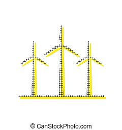 Wind turbines sign. Vector. Yellow icon with square pattern dupl
