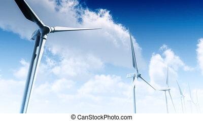 Wind Turbines Sky - Wind Turbines with aerial perspective....