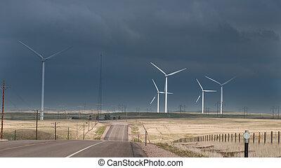 Wind Turbines - Wind turbines farm with alternative energy...