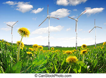 wind turbines on dandelion fields