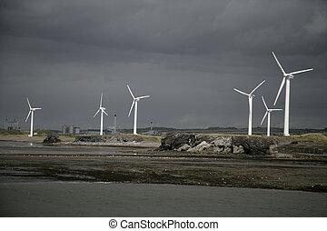 wind turbines - Workington, wind turbines, Cumbria, UK