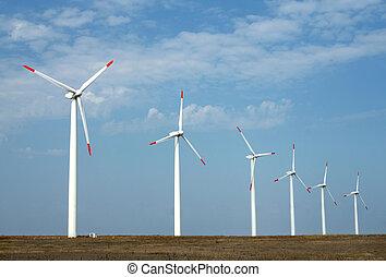 Wind turbines in a windfarm on cape Kalikra, Black sea,...