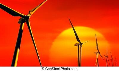 Wind Turbines Sunset (Loop - Matte) - Wind Turbines with...