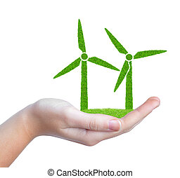 wind turbines symbol in hand