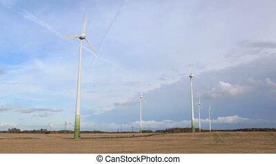 Wind turbines. Time lapse.