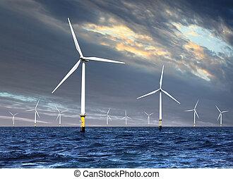 wind turbines under cloud sky