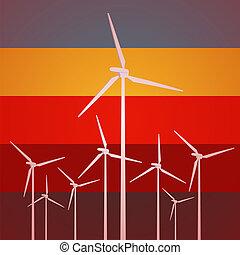 Wind Turbines Vintage Style