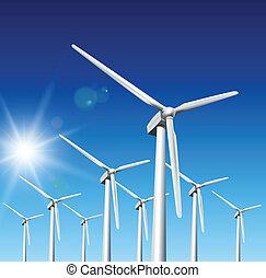 Wind turbines - Wind driven generators, turbines over blue...